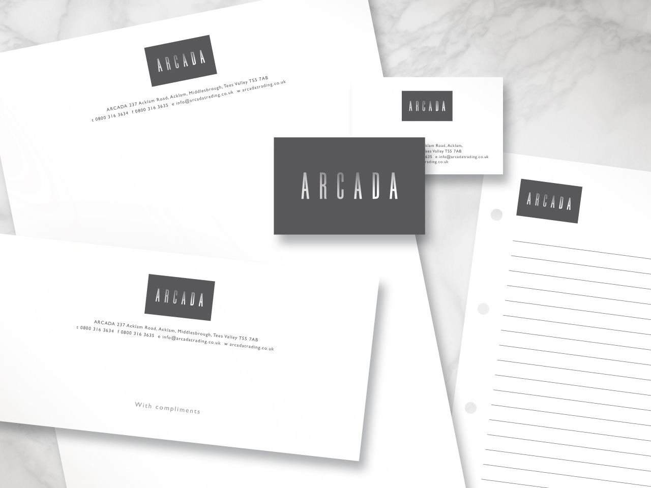 Arcada corporate identity and stationery