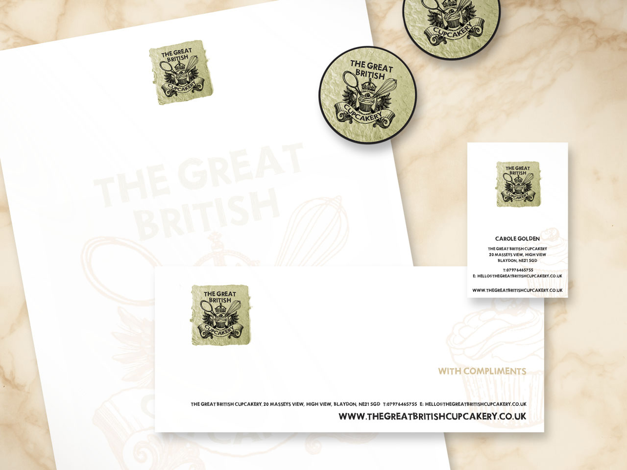 GB Cupcake Company stationery