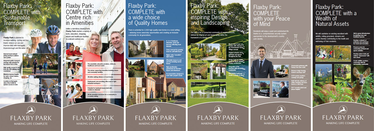 Press conference panels outlining Flaxby Park