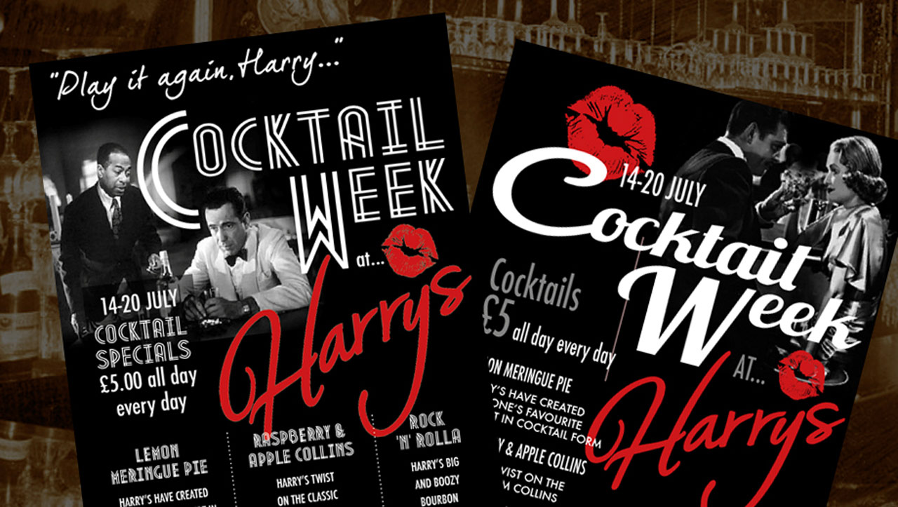 Harry's Cocktail Week promotion flyers