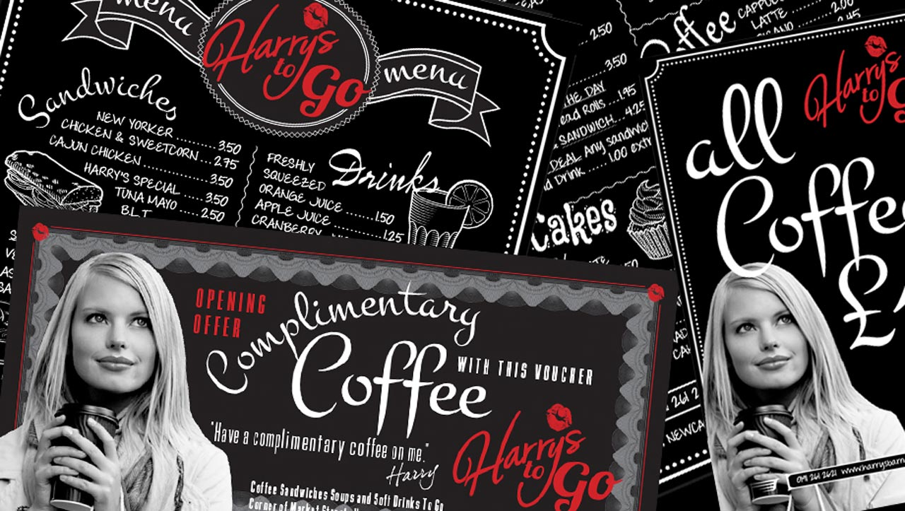 Coffee and sandwich promotional flyers