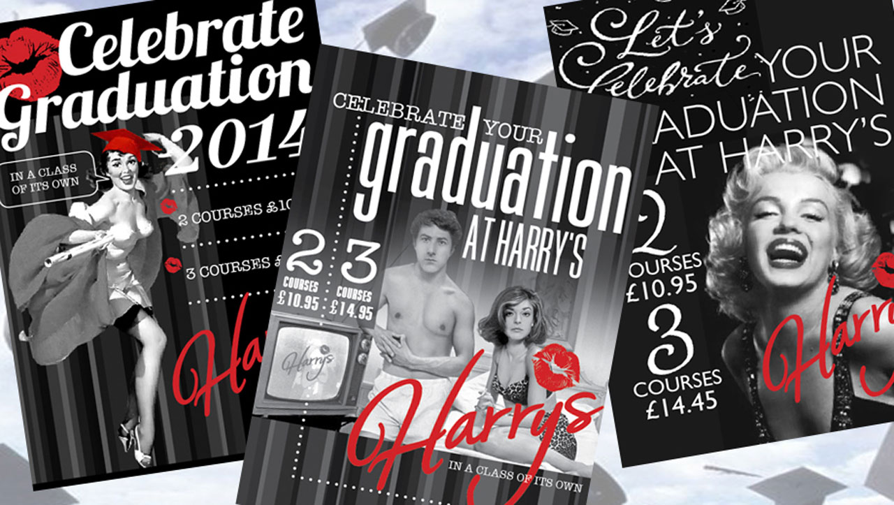 Harry's graduation event promotion flyers