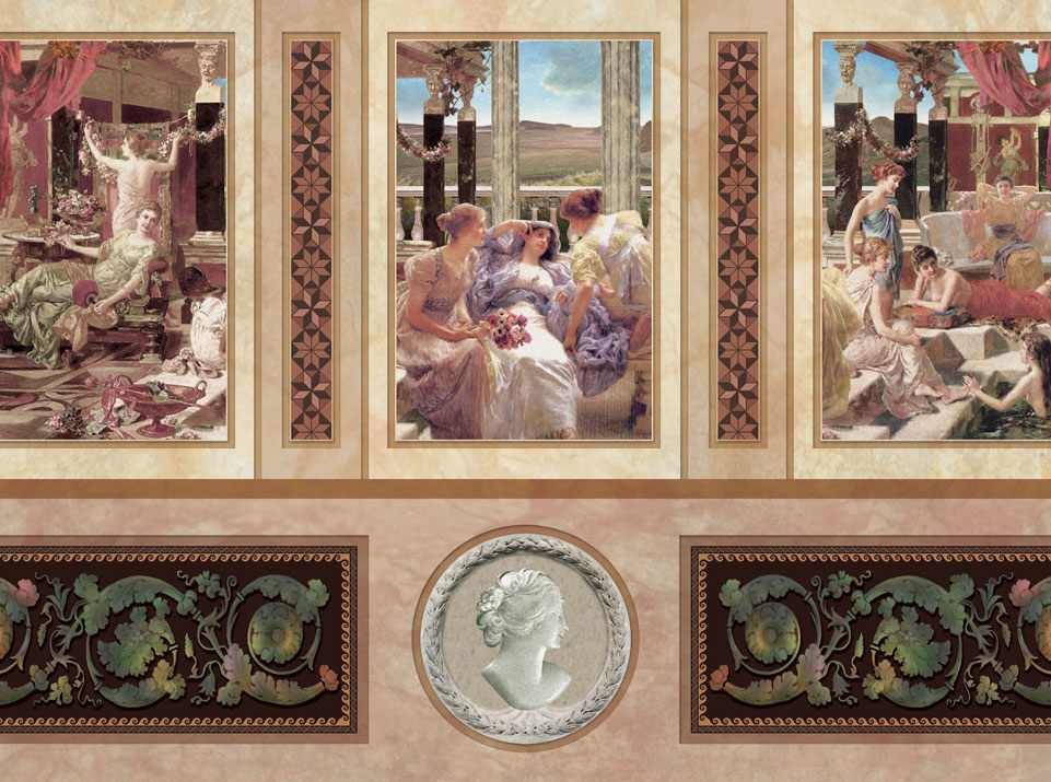 trompe-l'œil murals, tiling effects and friezes produced for the three museum restrooms