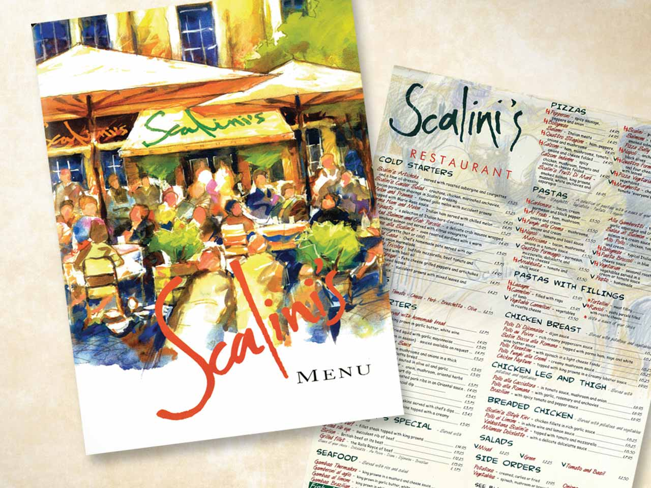 scalini's menu example