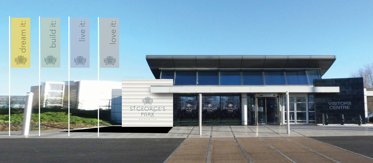 St George's Park brand identity applied to the marketing suite exterior