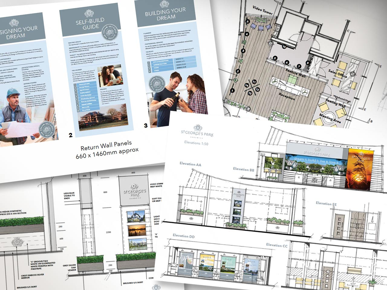 Conceptual drawings for the marketing suite interior