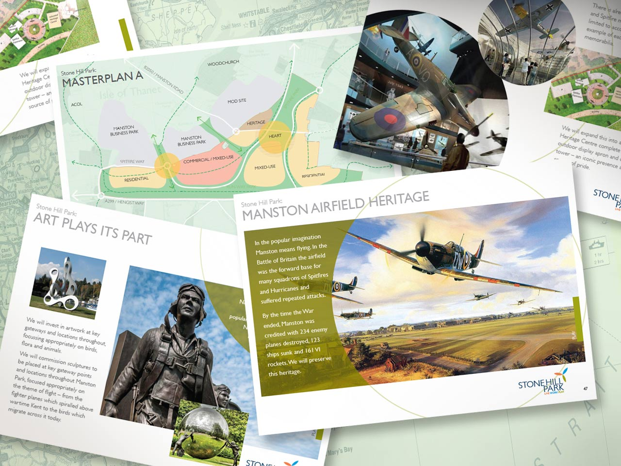 sample pages of the Stone Hill Park marketing presentation